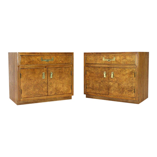 Light Burl Wood Campaign Nightstands Bed Tables Brass Hardware - A Pair For Sale