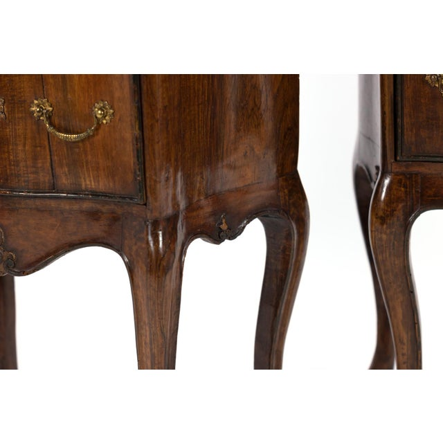 1890 Pair of Italian Walnut Bedside Tables With Carved and Ebonized Details, Each With Faux Drawer Front Single Doors For Sale - Image 12 of 13