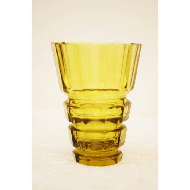 Early 20th Century Yellow Bohemian Art Deco crystal vase For Sale - Image 5 of 5