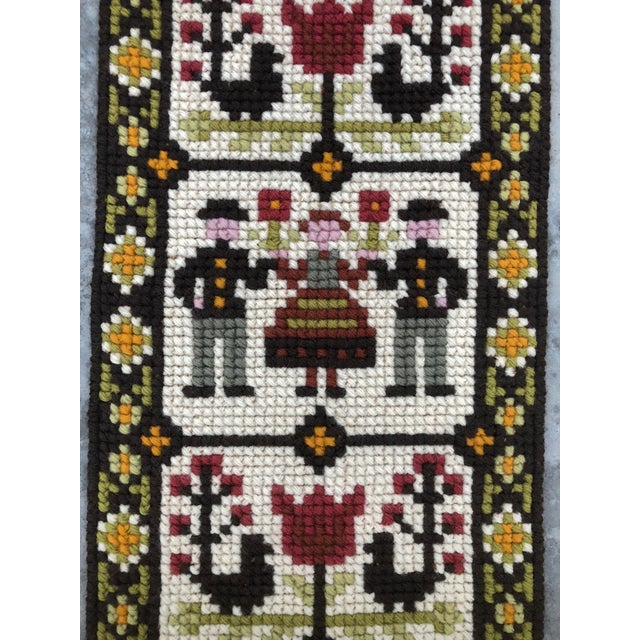 """Sweet vintage hand made Swedish folk art wall hanging. Twist Stitch Embroidery. Made in the 60s or 70s. Measurements 21.5""""..."""