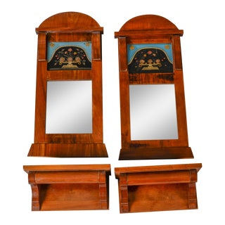 Antique Empire Revival Mirrors & Consoles - a Pair For Sale