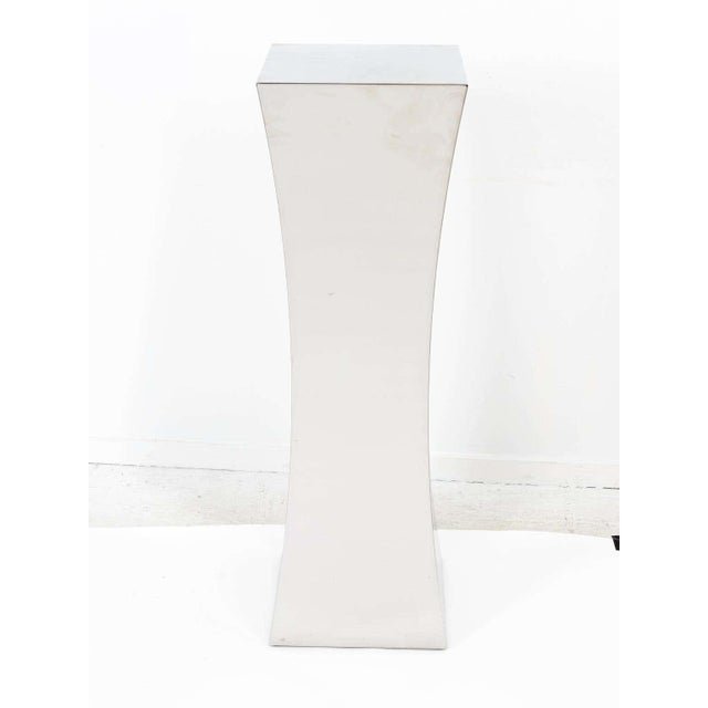 Contemporary Polished Nickel Concave Pedestal For Sale - Image 3 of 11