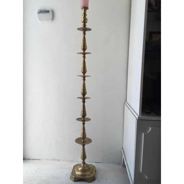 Boho Chic Brass Boho Floor Candleholder For Sale - Image 3 of 5