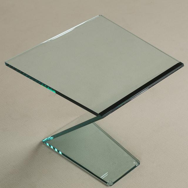 Cantilevered Sculptural Glass Side Table For Sale - Image 6 of 6
