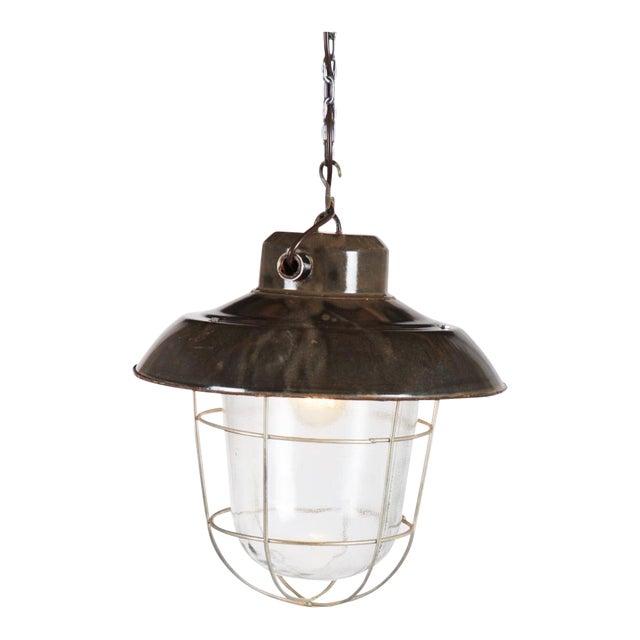 Industrial vintage factory hanging lamp For Sale