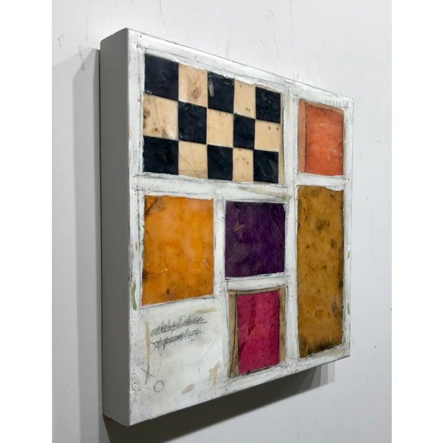 """Gina Cochran """"Necessity of Play No. 8"""" Encaustic Collage Painting For Sale - Image 4 of 9"""