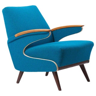 Upholstered Aerodynamic Lounge Chair, 1950s For Sale