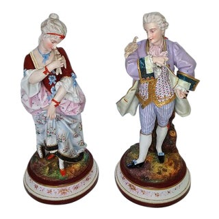 Pair of 18c French Old Paris Porcelain Figurines- A Pair For Sale