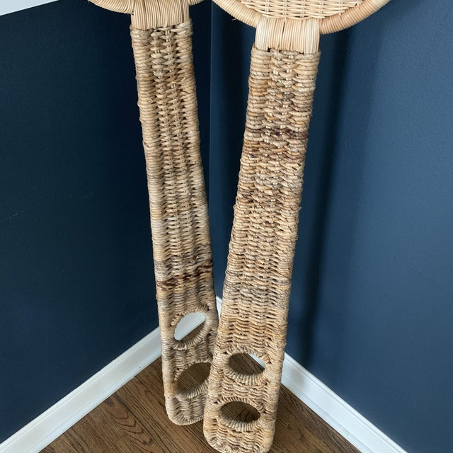 Jumbo Oversized Vintage Wicker Fork and Spoon Decor For Sale - Image 4 of 7