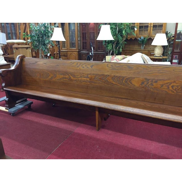 Antique Walnut and Ash Church Pew For Sale - Image 9 of 10