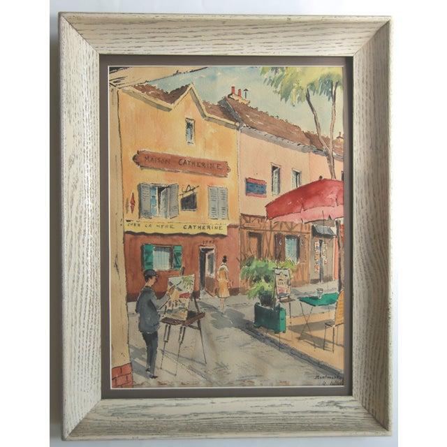 Mid-Century Paris Street Watercolor - Image 2 of 8