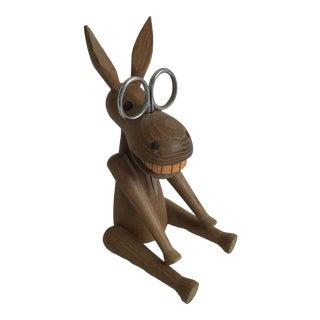Vintage Kay Bojesen Wood Donkey Glasses Scissors Holder For Sale