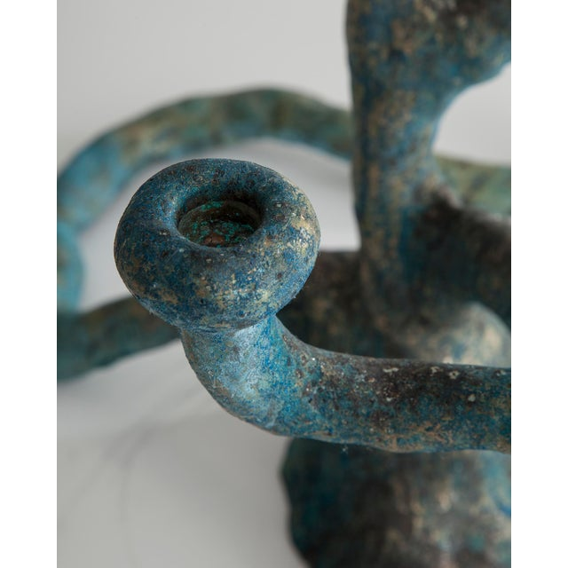 The Haas Brothers Extra large Elephant Skin candelabra in cast bronze with blue patina For Sale - Image 4 of 7
