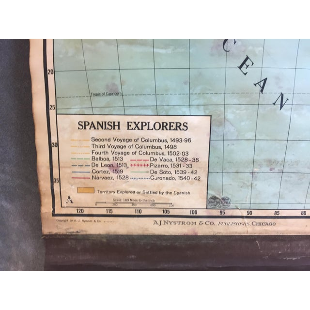 Vintage North & South America Pull Down Wall Map - Early Paper on Linen - Image 8 of 11