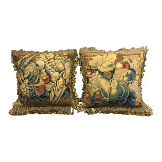 Antique Aubusson Tapestry Pillows - A Pair