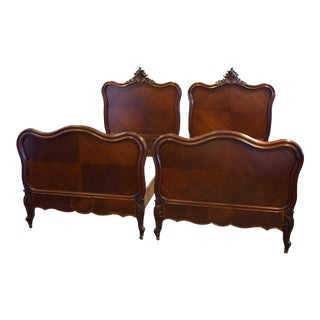 Late 19th-Century Pair of Matching French Single Mahogany Beds For Sale