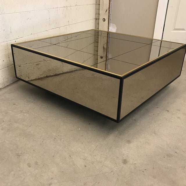 Smoke Bronze Mirror Cube Coffee Table - Image 4 of 11