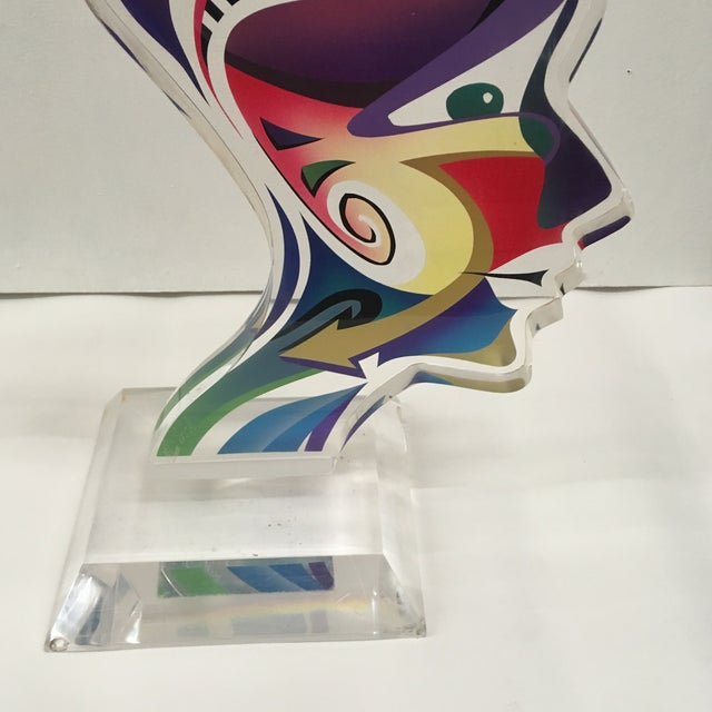 """Contemporary 1990's Acrylic Sculpture """"Two Faces"""" by Schlomi Haziza For Sale - Image 3 of 13"""
