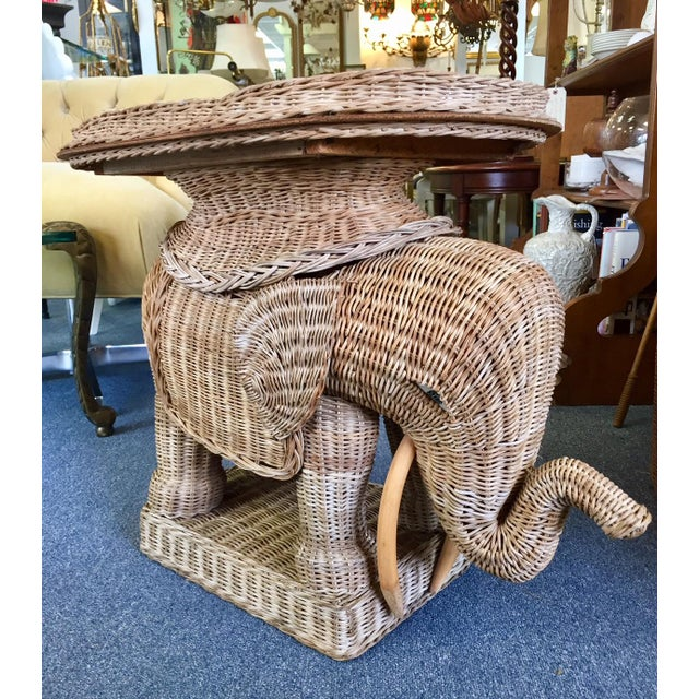 Tan Vintage Woven Rattan Elephant Tray Table For Sale - Image 8 of 8
