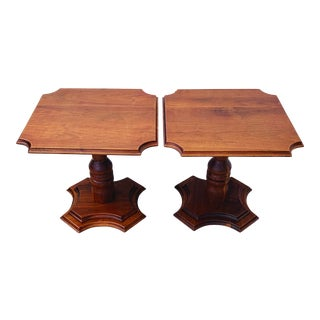 Traditional Walnut Pedestal Tables - a Pair For Sale