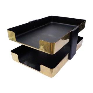 Mid-Century Modern Brass Paper Desk Organizer For Sale