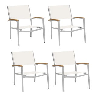 Outdoor Sling Lounge Chair, Natural (Set of 4) For Sale