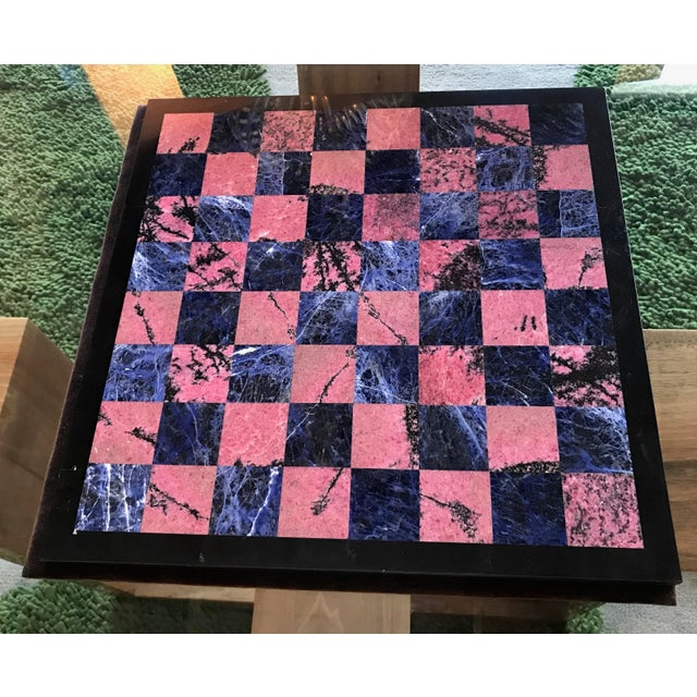 Hollywood Regency Blue Marble and Art Glass Chess Game Set, Italy, Circa 1960s For Sale - Image 3 of 9