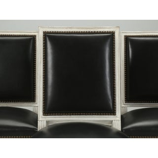 French Louis XVI Style Dining Chairs in Black Leather and Distressed White Paint - Set of 6 Preview