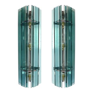 Mid-Century Modern Italian Glass Sconces from Veca - A Pair For Sale