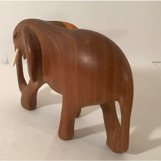 Vintage Wooden Carved Elephant For Sale - Image 4 of 10