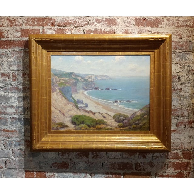"Charles L A Smith-Point Dume,Malibu c.1920s-California impressionist-Oil Painting Frame size 30 x 35"" canvas size 20 x 26""..."