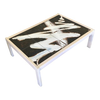 Signed Tile Top Coffee Table For Sale