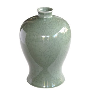 An Elegantly-Shaped Chinese Celadon Crackle-Glazed Mei Ping (Plum) Vase For Sale