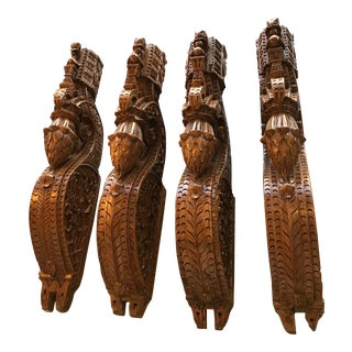Heavily Carved Wooden Corbels From India - Set of 4 For Sale