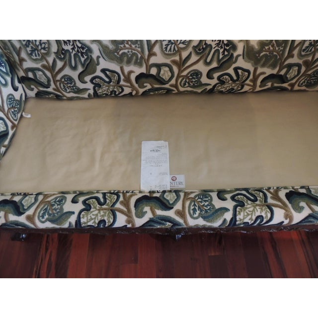 Lights Crewel-Work Green and Yellow Camel Back Upholstered Settee From Century Furniture For Sale - Image 7 of 13