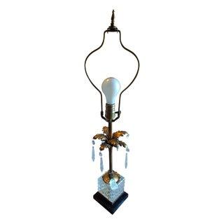 Vintage Crystal & Brass Table Lamp