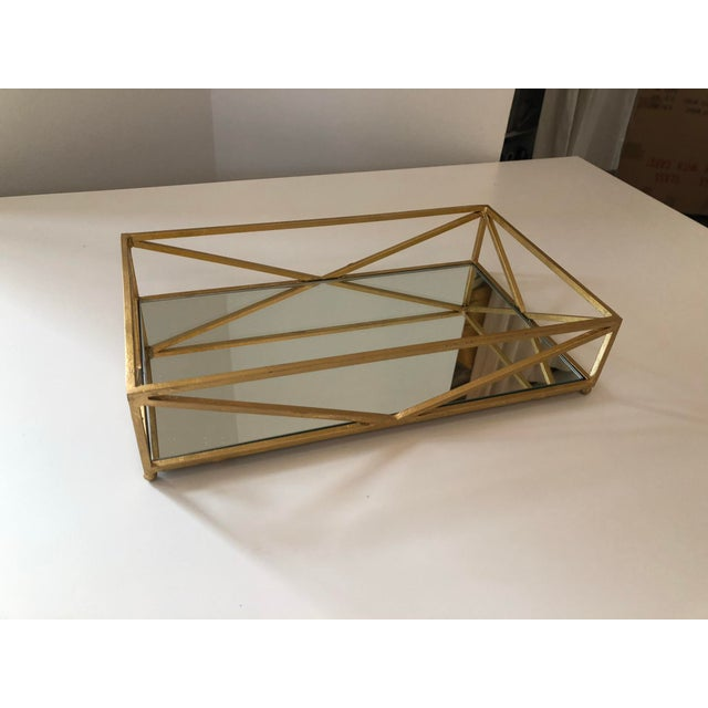 2010s Contemporary Iron Tray With Inset Mirror in Golf Leaf For Sale - Image 5 of 9