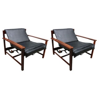 Black Leather Brazilian Reclining Lounge Chairs - a Pair For Sale