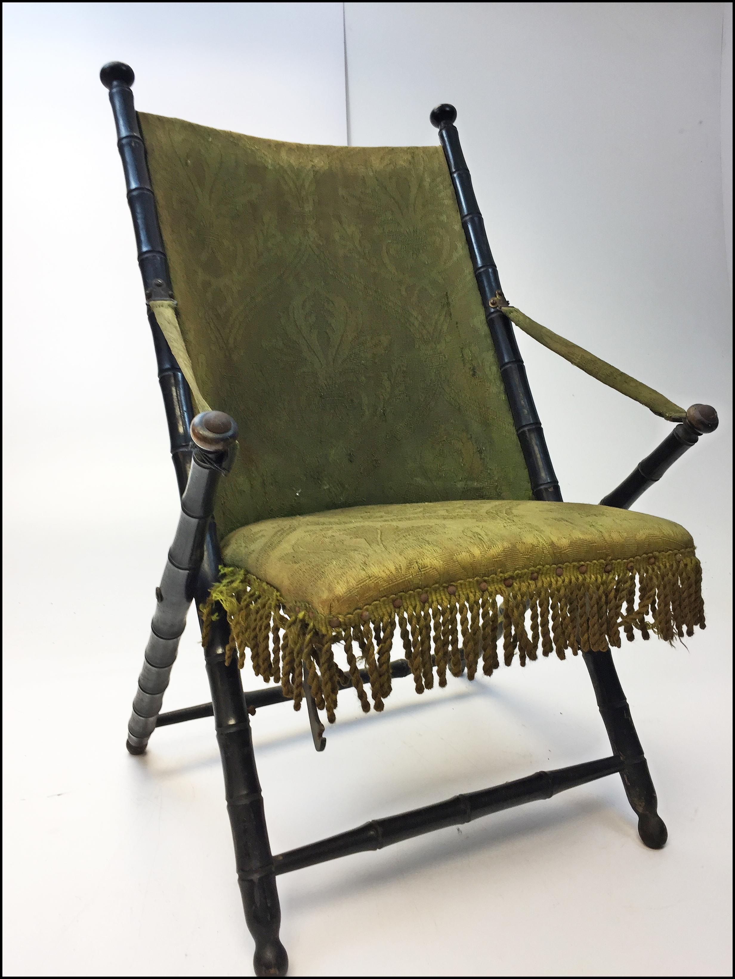 Vintage Victorian Dark Green Upholstered Folding Accent Chair   Image 3 Of  14