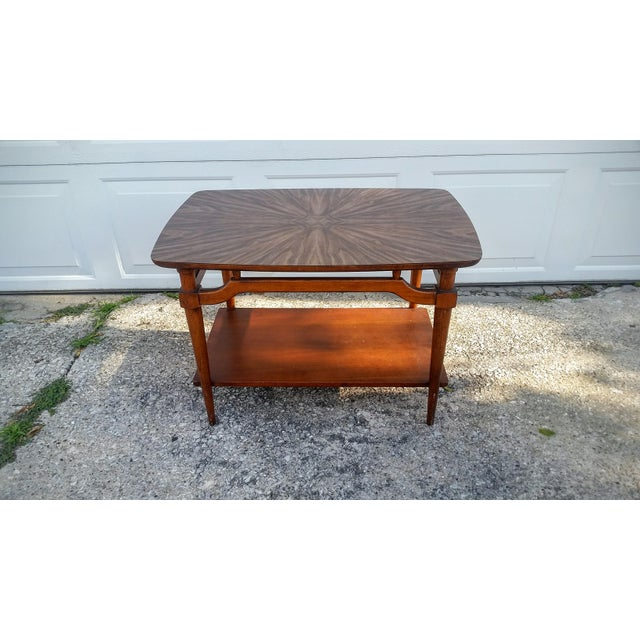 Awesome Lane side table with a laminated top. It is easy to keep clean and allows more relaxed use. The table is solid...