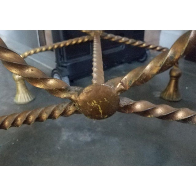 Gold Hollywood Regency Italian Gilt Tole Rope Tassel Bench For Sale - Image 8 of 9