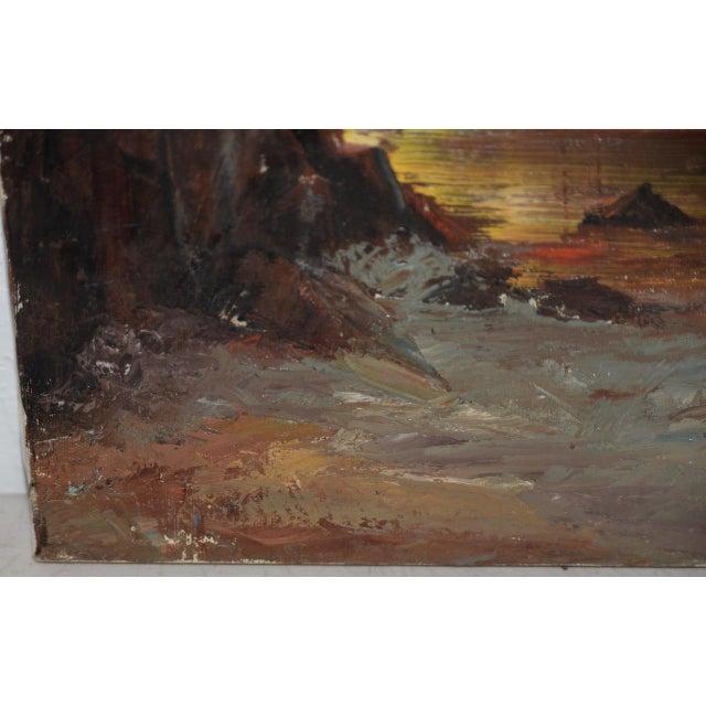 "Irina Roudakoff Belotelkin (january 1, 1913 – January 21, 2009) ""coastal Sunset"" Oil Painting C.1960s For Sale In San Francisco - Image 6 of 8"