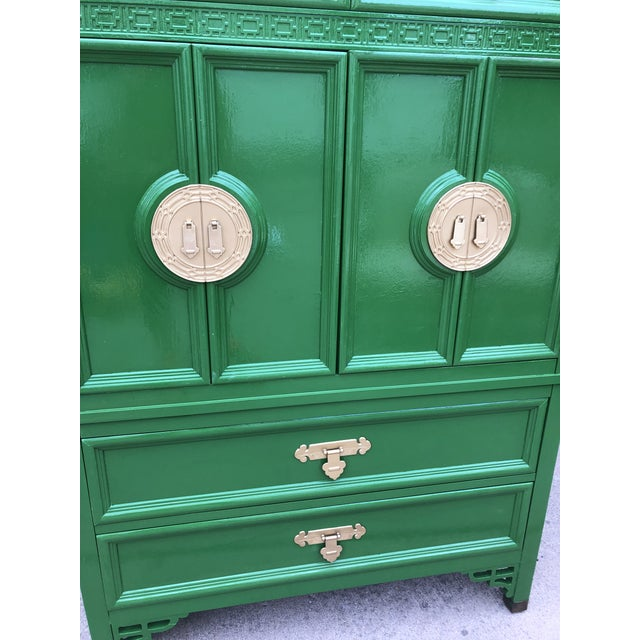 """Offered is a vintage dresser by Dixie Furniture from their """"Shangri La"""" Collection. This piece features smooth gliding..."""