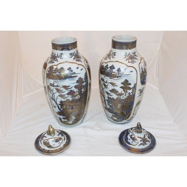 Chinese 18th Century Chinese Qing Dynasty Covered Jars - a Pair For Sale - Image 3 of 9