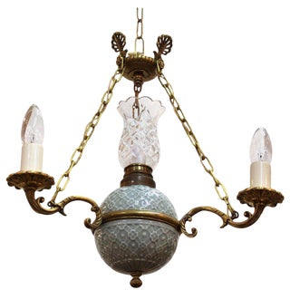 Victorian Minton Porcelain Crystal and Brass Chandelier For Sale