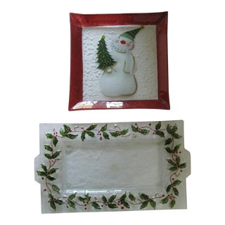 Hand-Painted Christmas & Holiday Serving Plates- 2 Pieces For Sale
