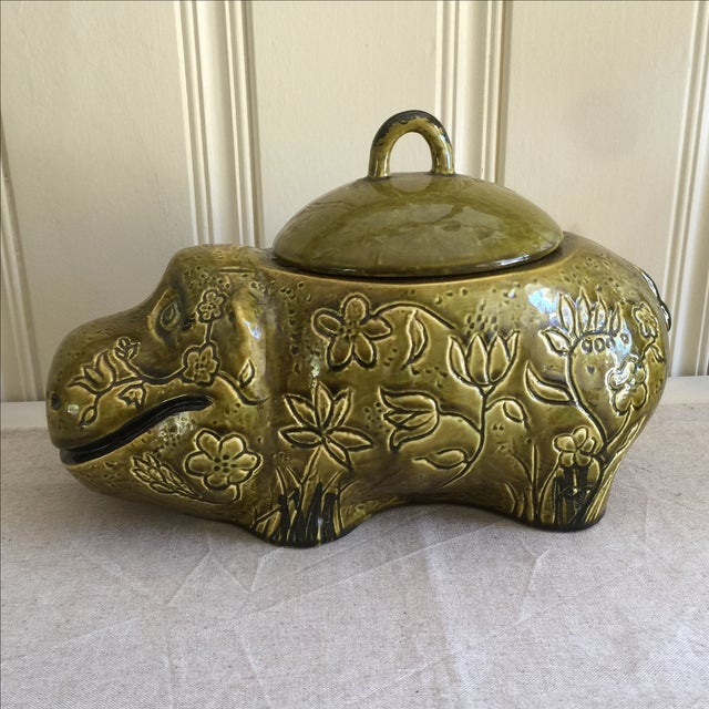 Large Mid-Century Hippo Cookie Jar For Sale - Image 4 of 11