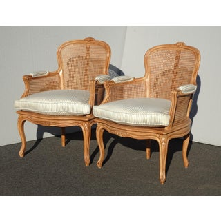 Pair of Vintage French Provincial Cane Accent Chairs W Blue Feather Cushions Preview