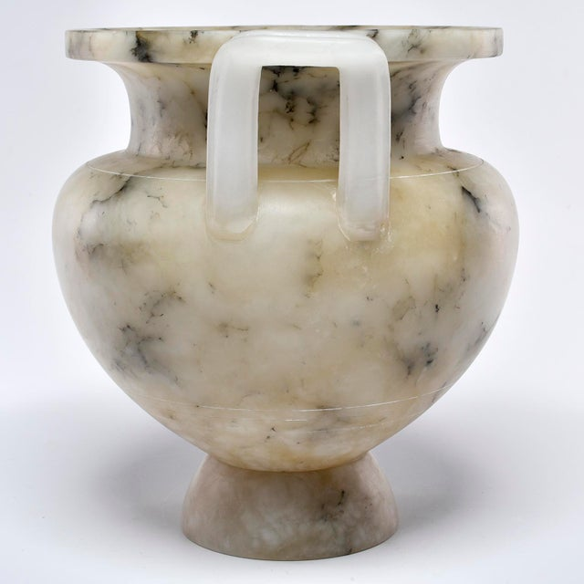 Gray Italian Carved Alabaster Vase With Handles For Sale - Image 8 of 11