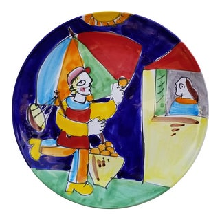 "Italian ""the Cellar"" Hand-Painted Decorative Wall Plate For Sale"
